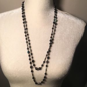 4 for $12: Long Black Iridescent Beaded Necklace